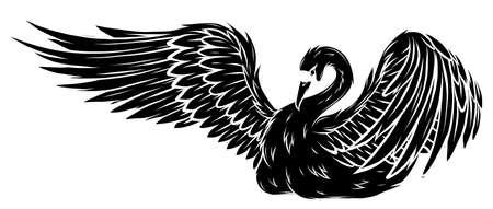 black silhouette Cartoon beauty swan floats on water vector