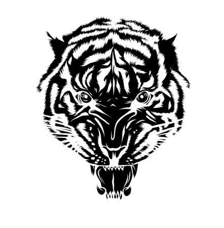 black silhouette Tiger tattoo. Vector illustration of a tiger head. Tiger anger.