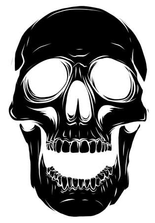black silhouette Illustration of a human skull Vector Stock Illustratie