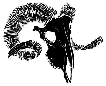 black silhouette Illustration of a goat skull Vector