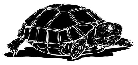 black silhouette turtle icon. Cartoon of tropical turtle vector icon for web design