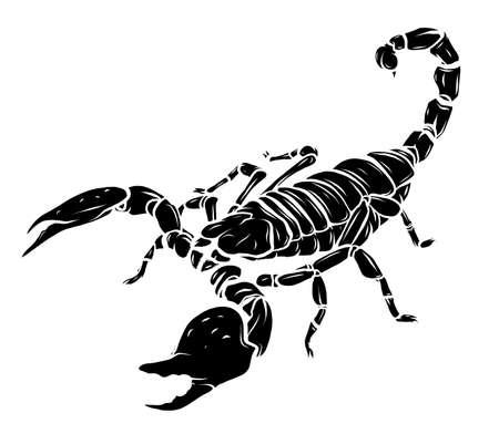 black silhouette vector Scorpion tattoo - ornate exquisite scorpion image, sign horoscope Stock Illustratie