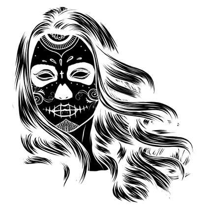 Vector Black and White Skull Candy Girl Illustration