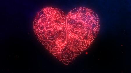 Red heart pierced by Cupids arrow neon sign. . 免版税图像