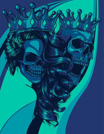 Skulls King and Queen vector. Love skull couple. illustration