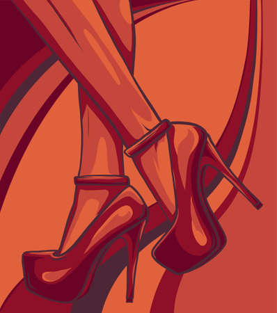 woman legs in fashion shoes vector illustration