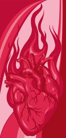 vector Burning Heart. Illustration for design tattoo Vettoriali