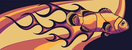 Abstract Burning anemone fish, Illustration vector design art