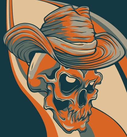 Gangster skull tattoo. Death head with cigar and hat vector 向量圖像