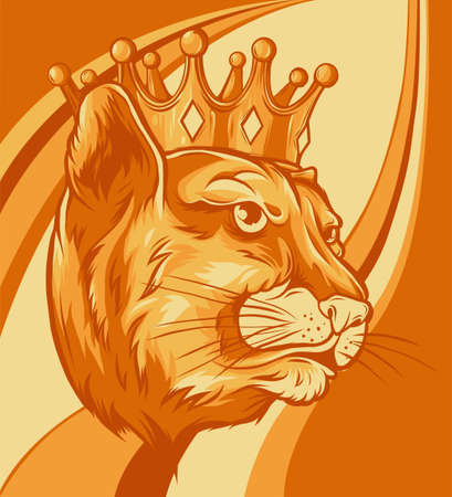 Panther in the crown. Vector illustration design 向量圖像