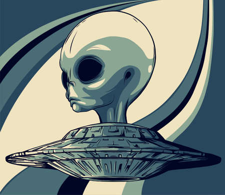 alien is sitting in a flying saucer.Hand drawn style.Space scientific vector