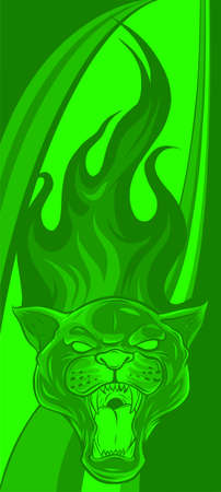 Panther Design, with flames vector illustration art
