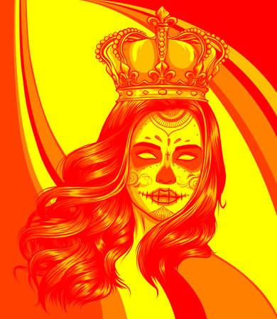 Skull girl with a crown. Vector illustration design 向量圖像