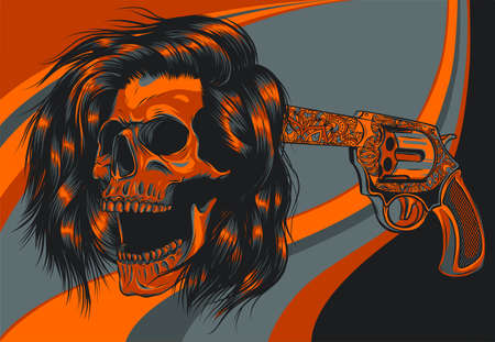 vector illustration suicide skull with gun and blood 向量圖像