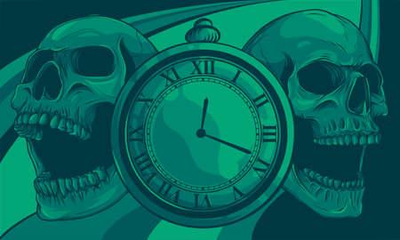 pocket watch with human skull. illustration line art.