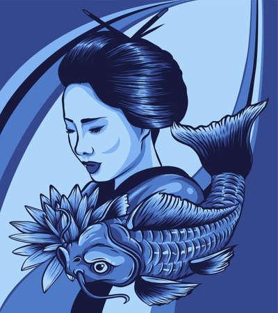 Beautyful Geisha women with koi carp fish. vector illustration