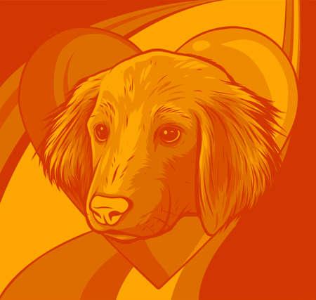 A Dog in love shape or mascot vector