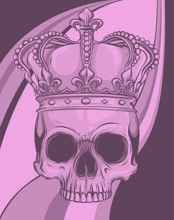 king skull wearing crown. Vector illustration design