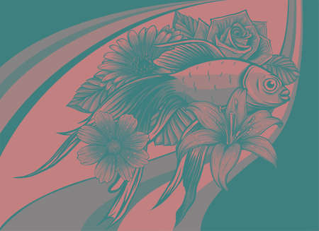 vector illustration of japanese koi fish with flower
