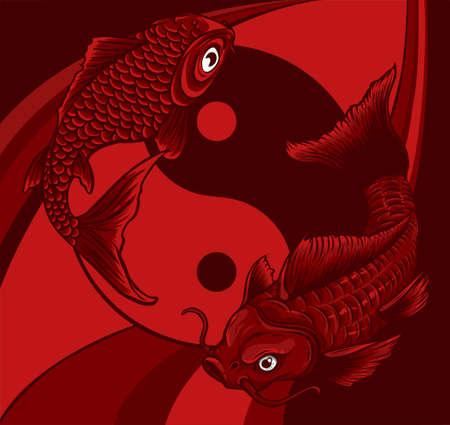 Ying Yang symbol with koi fishes. Vector illustration
