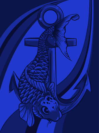 fish anchor vector illustration line art quality