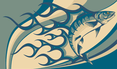 Jumping salmon fish with flames vector illustration 向量圖像