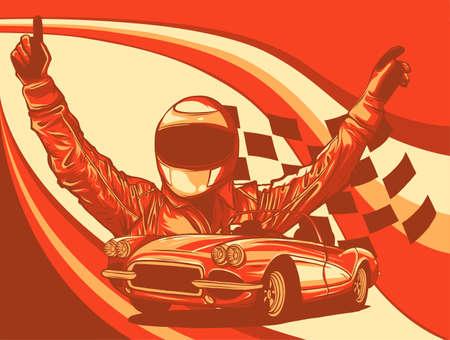 A vector illustration of a race car driver with flag 向量圖像