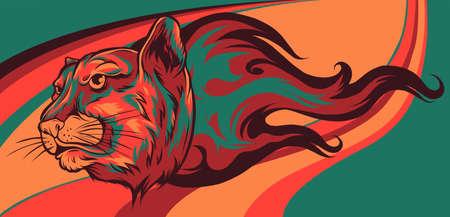Jaguar head Flame vector illustration design art 向量圖像