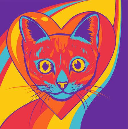 Vector illustration of cat head cartoon style