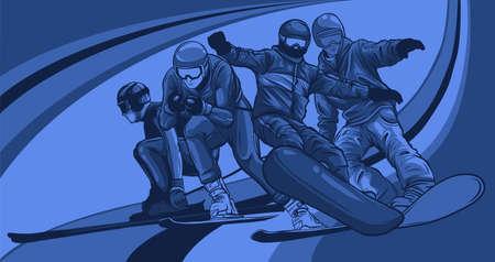 Vector set of skiers. People skiing design elements illustration 向量圖像