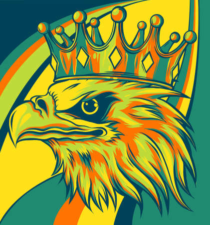 vector illustration of head eagle with crown