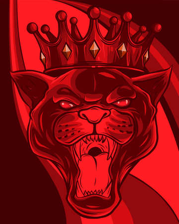 head Panther in the crown. Vector illustration design 向量圖像