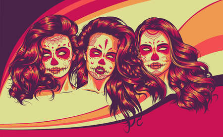 womans with sugar skull makeup, vector illustration