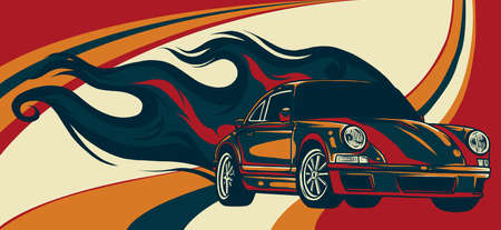 Fast car with flames vector illustration desgn art
