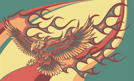 vector illustration of eagle with flames on colored background 向量圖像