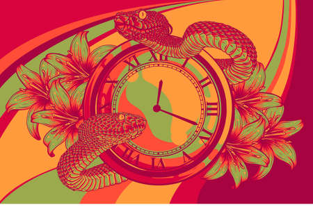 Vector Pocket Watch with snake and Flower