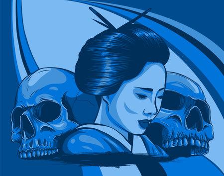 Geisha with skulls. Beautiful japanese girl. vector illustration design 向量圖像