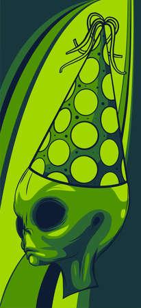 Alien head grey with hat vector illustration design art