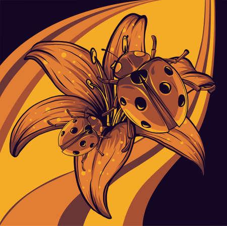 ladybugs in the flower vector illustration art