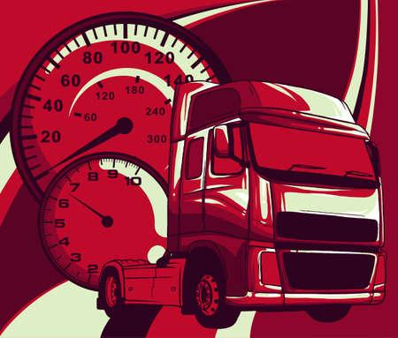 Vector cartoon semi truck illustration design art