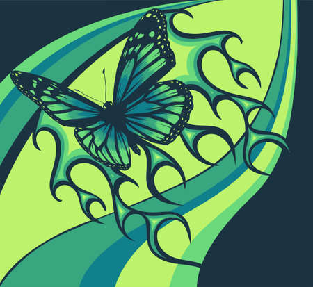vector Illustration of a butterfly with fire