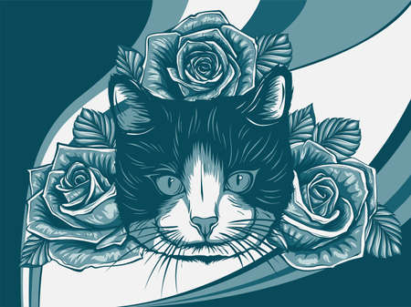 Vector Color Cat with Roses Illustration design art