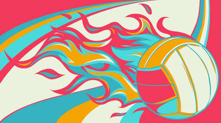 Vector illustration of volleyball ball with simple flame shape. 向量圖像