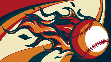 Baseball with flames on colored background vector illustration Иллюстрация
