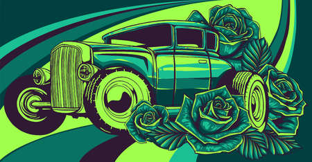 Old school car with decorative roses in classic style.