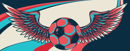 football ball with wings emblem soccer design vector 向量圖像