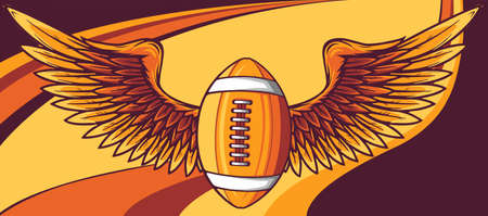 Realistic ball for American football with wings emblem vector
