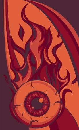 Single eyeball on fire in flames vector illustration