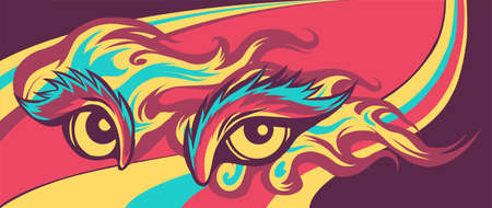 Animal Eye Vector Illustration in colored background