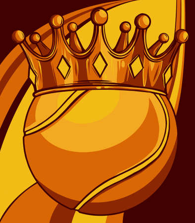 King of tennis concept, a tennis ball wearing a gold crown vector